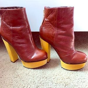 Betsey Johnson Burgundy, Leather, booties.